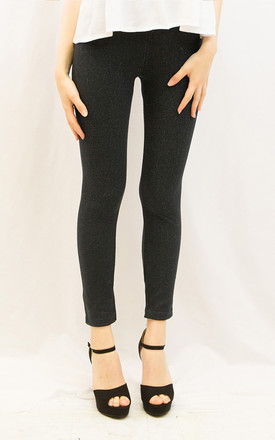 Cotton Leggings with Fleece Lining in Navy Blue Jean Look by CY Boutique