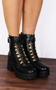 Black Eyelet Chunky Platforms Lace Ups Ankle Boots by Shoe Closet