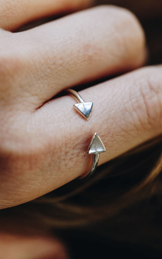 Sterling Silver Luxe Triangle Open Ring by Posh Totty Designs