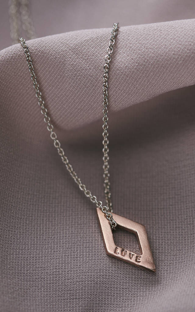 Mixed Metal Mini 'Love' Rhombus Necklace by Posh Totty Designs