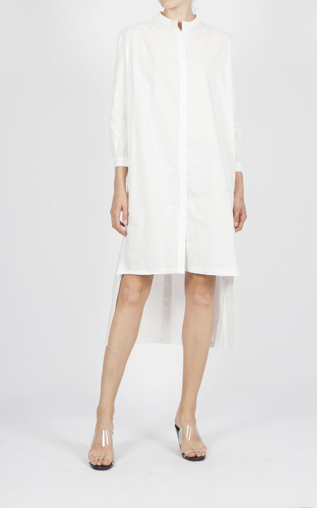 TUNIC DRESS SIDE AND BACK BUTTONS DETAIL WHITE DINUA by Jovonna London