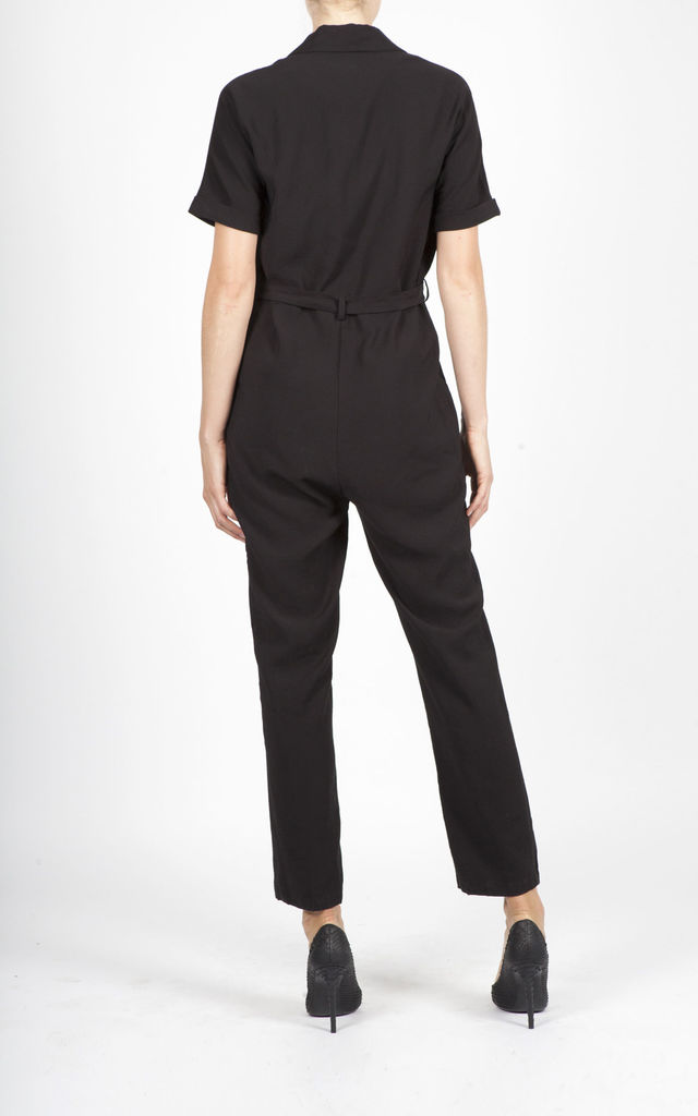 NATE BLACK BUTTONED JUMPSUIT by Jovonna London