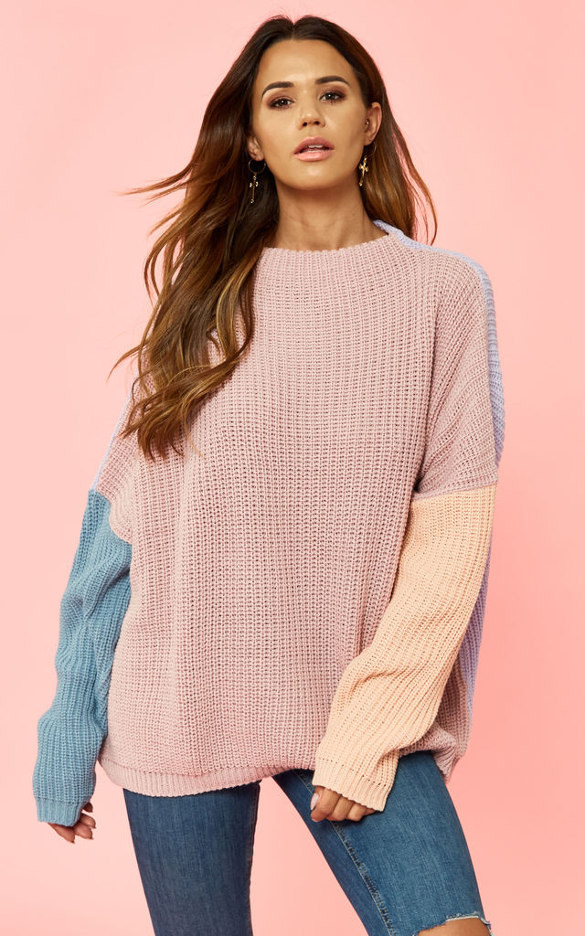 Lilac With Blue And Peach Sleeve High Neck Knit by Glamorous