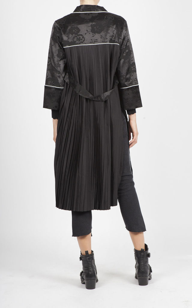 SACCHI BLACK TRENCH WITH MATT FLOWER PRINT by Jovonna London