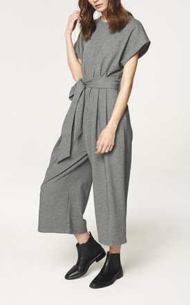 Cropped Jersey Jumpsuit in Charcoal (with self belt) (Variant) by Paisie
