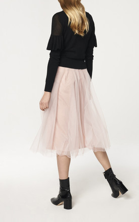 Midi Skirt with Satin Waistband and Tulle Overlay in Blush by Paisie