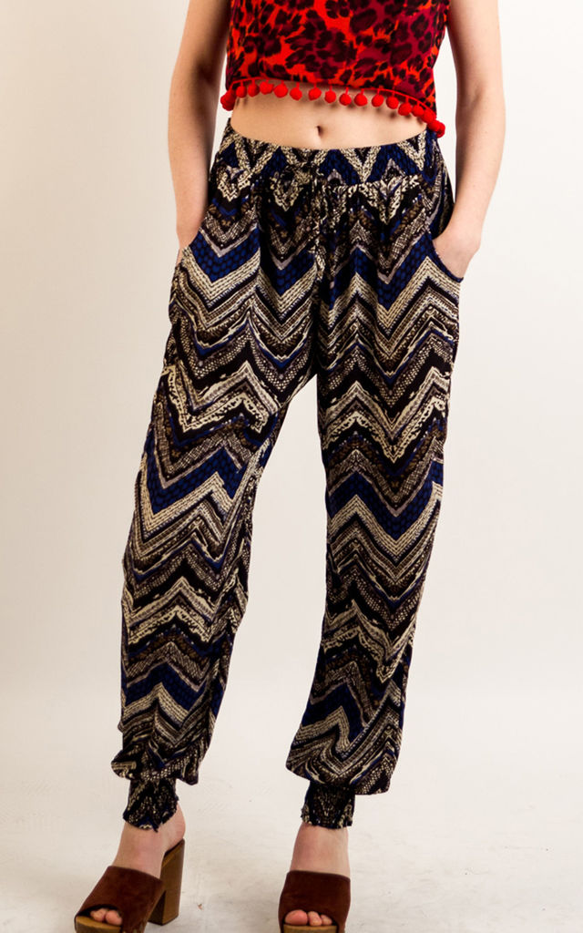 Cotton Trousers with Elasticated Waist in Blue Aztec Zigzag Print by CY Boutique