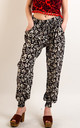 Cotton Trousers with Elasticated Waist in Black and white floral print by CY Boutique