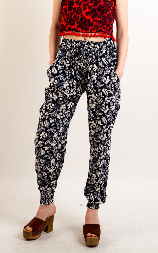 Cotton Trousers with Elasticated Waist in Dark Blue Floral Print by CY Boutique