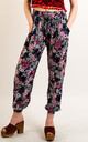 Cotton Trousers with Elasticated Waist in Blue Floral Print by CY Boutique