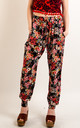 Cotton Trousers with Elasticated Waist in Black Floral Print by CY Boutique