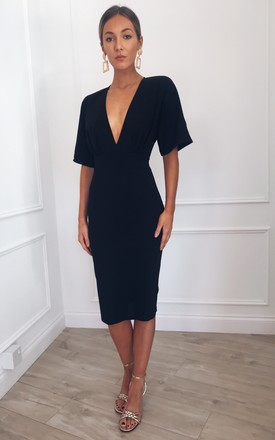 Sadie Bodycon Midi Dress   Black by Pretty Lavish Product photo