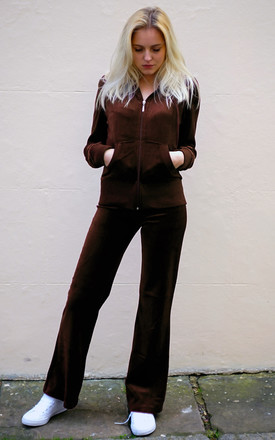 Velour Tracksuit with Long Sleeve Hooded Top and Jogging Bottoms in Brown by CY Boutique