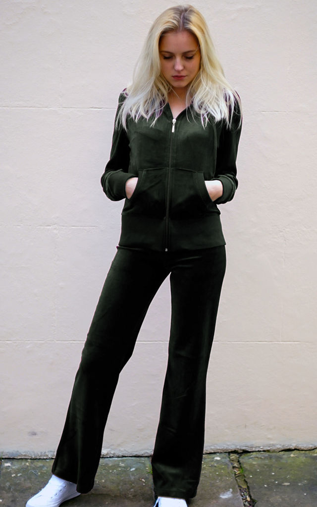 Green Velour Tracksuit | Long Sleeve Hooded Top/Jogging Bottoms by CY Boutique