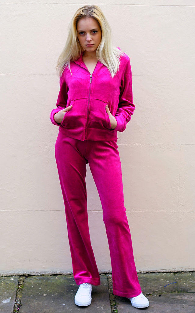 Velour Tracksuit with Long Sleeve Hooded Top and Jogging Bottoms in Hot Pink by CY Boutique