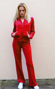 Velour Tracksuit with Long Sleeve Hooded Top and Jogging Bottoms in Red by CY Boutique
