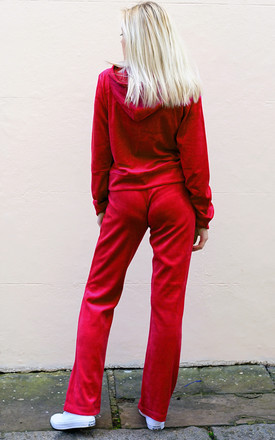 Red Velour Tracksuit | Long Sleeve Hooded Top/Jogging Bottoms by CY Boutique