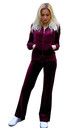 Velour Tracksuit with Long Sleeve Hooded Top and Jogging Bottoms in Burgundy by CY Boutique
