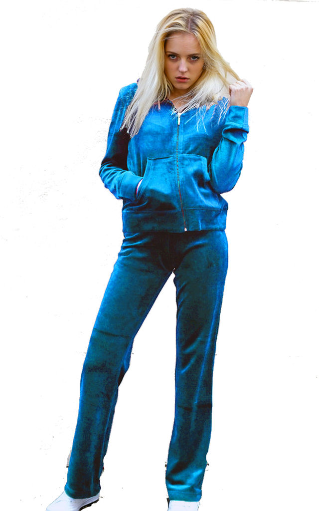 Velour Tracksuit with Long Sleeve Hooded Top and Jogging Bottoms in Turquoise by CY Boutique