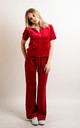 Red Velour Tracksuit | Short Sleeve Top/Jogging Bottoms by CY Boutique