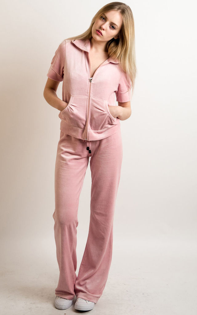 Baby Pink Velour Tracksuit Short Sleeve Top Jogging Bot Cy Boutique Silkfred