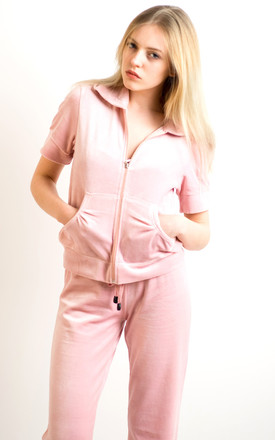 Velour Tracksuit with Short Sleeve Top and Jogging Bottoms in Baby Pink by CY Boutique