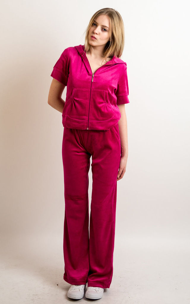 Hot Pink Velour Tracksuit Short Sleeve Top Jogging Bottoms Cy Boutique Silkfred Uae