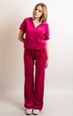 Hot Pink Velour Tracksuit | Short Sleeve Top/Jogging Bottoms by CY Boutique