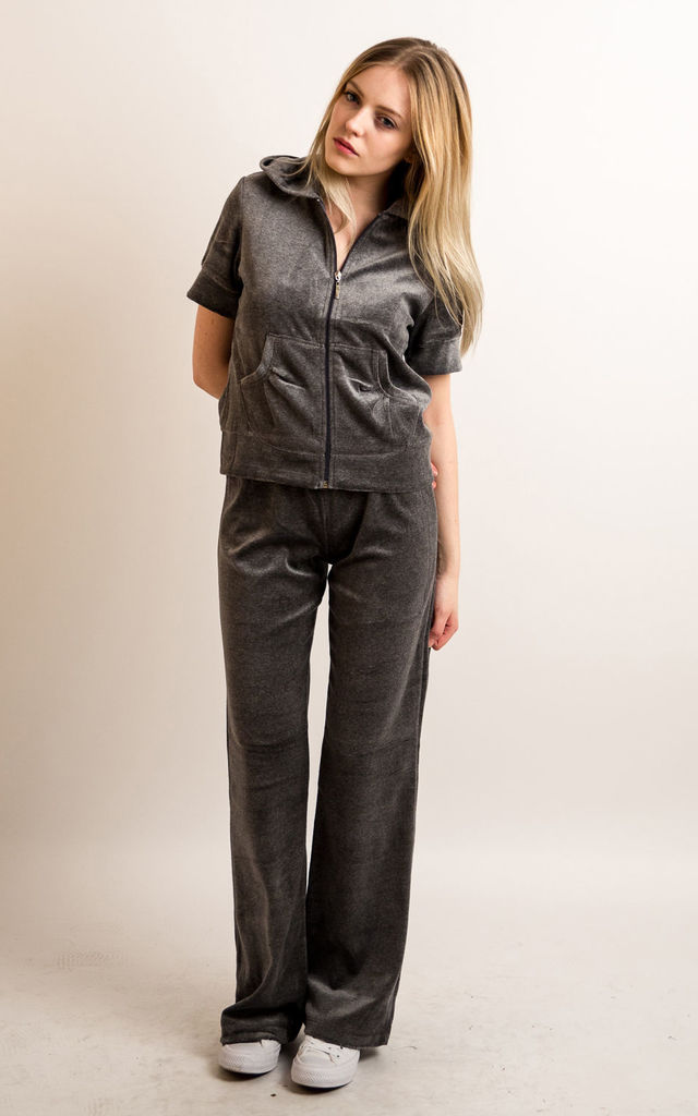 Grey Velour Tracksuit | Short Sleeve Top/Jogging Bottoms by CY Boutique
