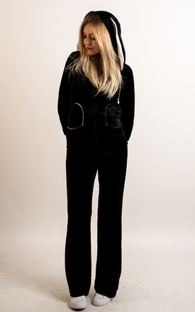 Velour Tracksuit with Bunny Ears in Black by CY Boutique