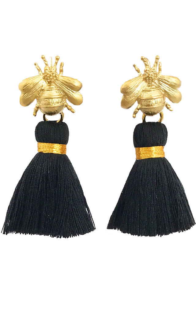 THE 'QUEEN BEE' TASSEL EARRINGS - BLACK by BLESSED LONDON