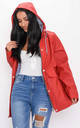 Waterproof Hooded Festival Rain Mac Coat Red by LILY LULU FASHION