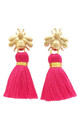 THE 'QUEEN BEE' TASSEL EARRINGS - BRIGHT PINK by BLESSED LONDON