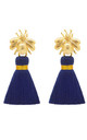 THE 'QUEEN BEE' TASSEL EARRINGS - NAVY BLUE by BLESSED LONDON
