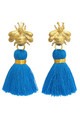 THE 'QUEEN BEE' TASSEL EARRINGS - BRIGHT BLUE by BLESSED LONDON