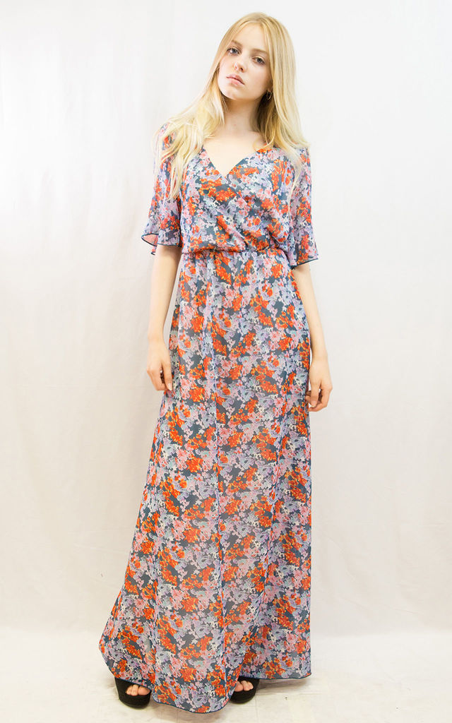 Short Sleeve Wrap Maxi Dress in Orange Floral Print by CY Boutique