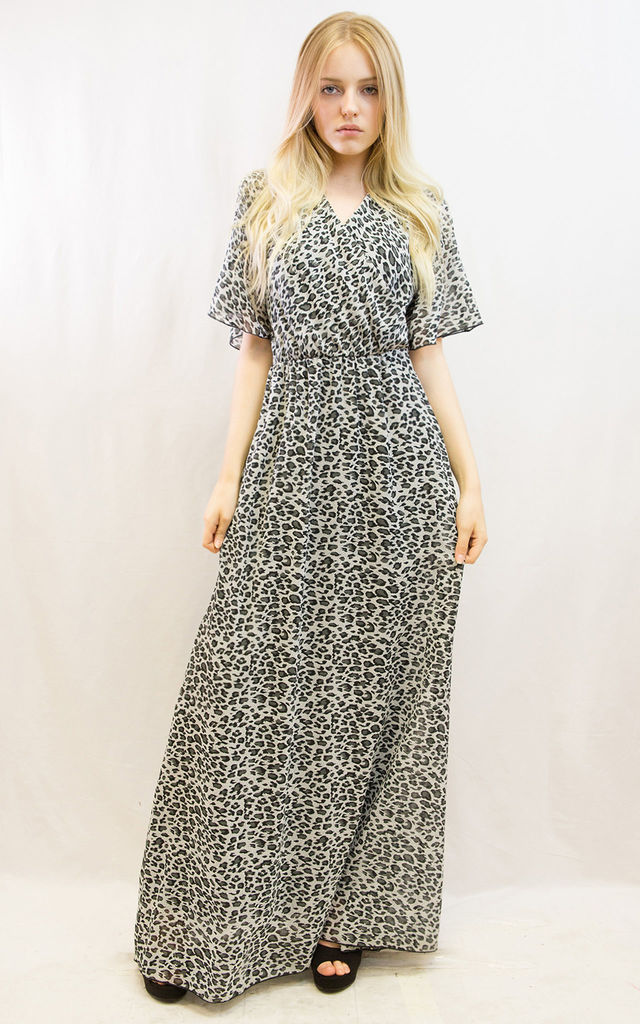 0f66b03f28 ... Grey leopard print Wrap maxi dress by CY Boutique ...