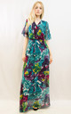 Short Sleeve Wrap Maxi Dress in Blue Abstract Print by CY Boutique
