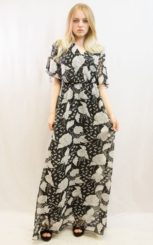 Short Sleeve Wrap Maxi Dress in Black Rose Floral Print by CY Boutique