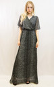Short Sleeve Wrap Maxi Dress in Black Leopard Print by CY Boutique