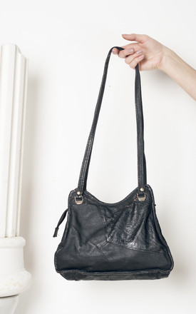 80s vintage black leather bag by Pop Sick Vintage