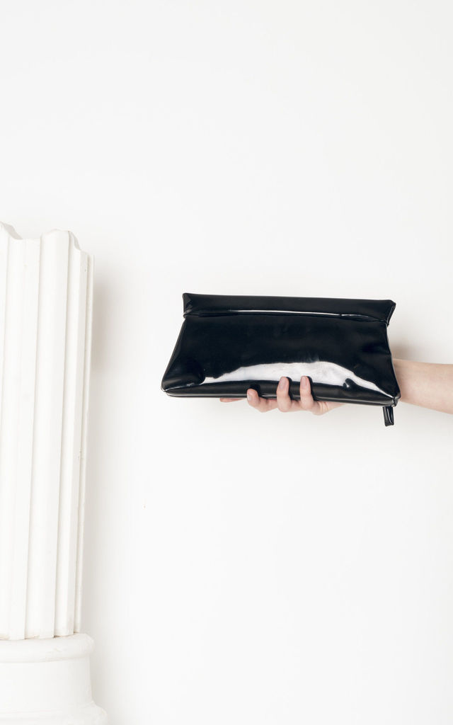 60s vintage patent vegan leather clutch by Pop Sick Vintage