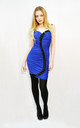 Bodycon Dress with Embellished S Design in Blue/Black by CY Boutique