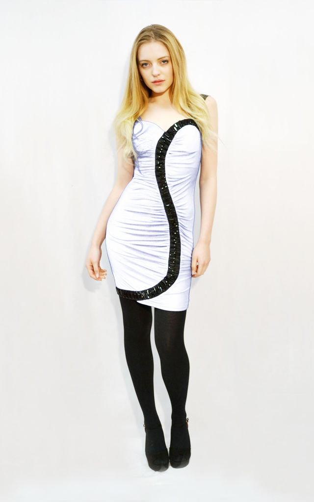 Bodycon Dress with Embellished S Design in White/Black by CY Boutique