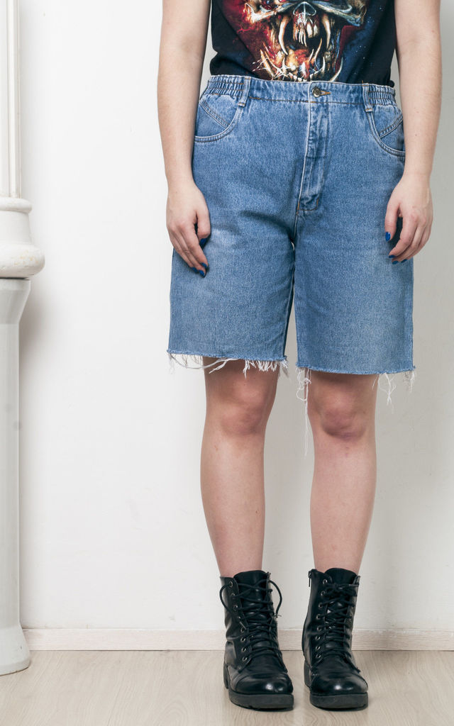 Frayed hem jeans - 90s reworked denim shorts by Pop Sick Vintage