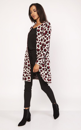 Long cardigan in leopard print In Wine by Lanti