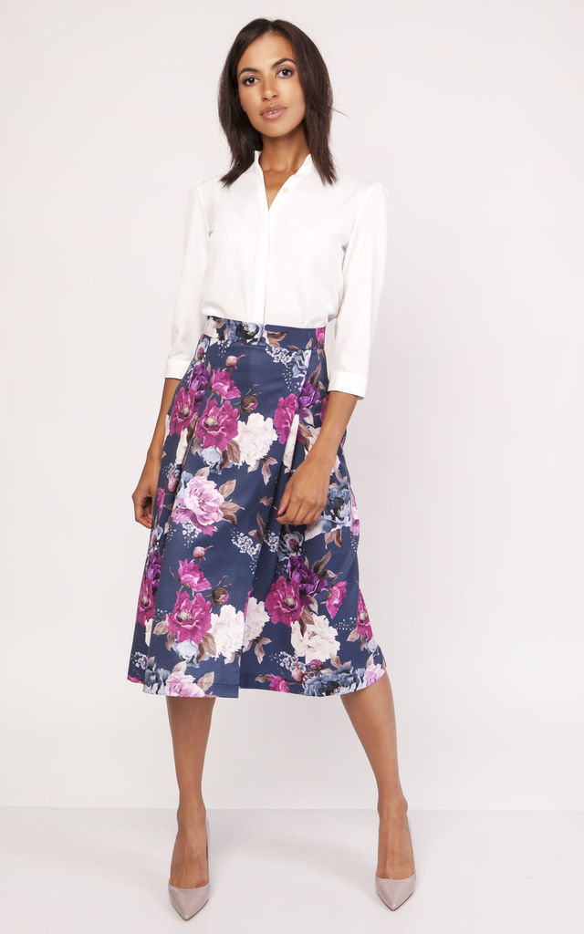 Wrap Midi Skirt In Floral by Lanti