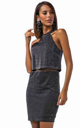 Sparkling Window Pain Dress Black by Zibi London