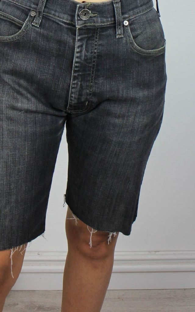 Vintage Armani Denim Knee Shorts with Logo Back & Front by Re:dream Vintage