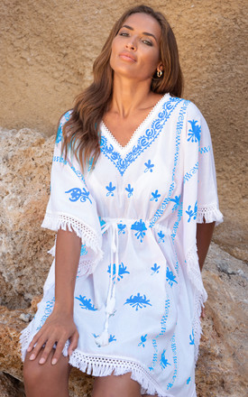 Mykonos Embroidered V Neck Mini Kaftan White / Blue by Kitten Beachwear Product photo